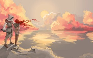 the sky, clouds, sunset, girl, reflection, landscape, sea, weapons, guy, shadow, the ocean, male, painting, red hair