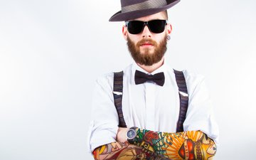 pose, glasses, tattoo, male, shirt, beard
