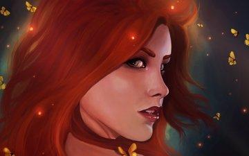 арт, взгляд, русалочка, красные волосы, disney mermaids, ариель
