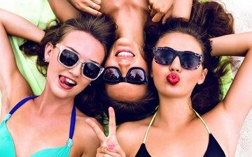 портрет, взгляд, девушки, лицо, друзья, бикини, солнечные очки, бикини, веселая