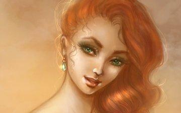 арт, девушка, фон, взгляд, волосы, зеленые глаза, живопись, сёрьги, шея