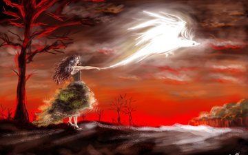 the sky, art, trees, girl, dress, phoenix, profile, bird, painting, red