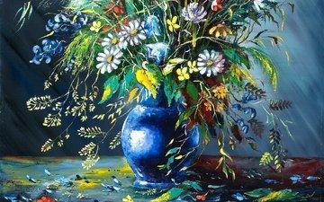 цветы, картина, лепестки, ваза, живопись, осыпаются