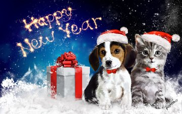 art, snow, new year, animals, cat, dog, gift, bow, packaging, happy new year