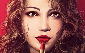 арт, девушка, взгляд, волосы, лицо, живопись, помада, красные губы