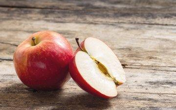 фрукты, яблоки, плоды, половина, дерева, эппл