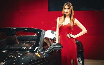 девушка, платье, машина, модель, в красном, феррари