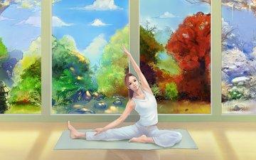 арт, зима, девушка, лето, взгляд, осень, весна, живопись, времена года, йога, коврик