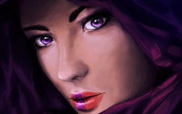 глаза, арт, девушка, взгляд, губы, лицо, живопись, капюшон, крупным планом