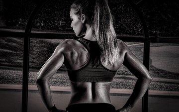девушка, модель, спина, фитнес, сзади, модел