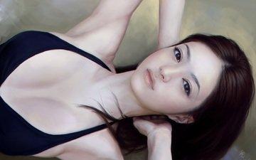 глаза, арт, девушка, взгляд, лежит, лицо, руки, живопись, азиатка, шея