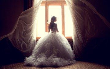 девушка, платье, окно, ветер, занавески, невеста