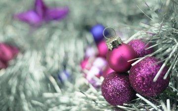 елка, шары, макро, игрушки, праздник