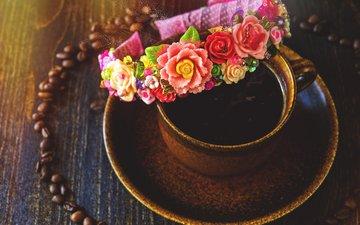 цветы, напиток, зерна, кофе, чашка, напитки, украшение, кубок, роз, ободок