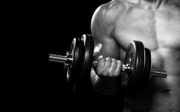 руки, мужчина, фитнес, гантели, тренажерный зал