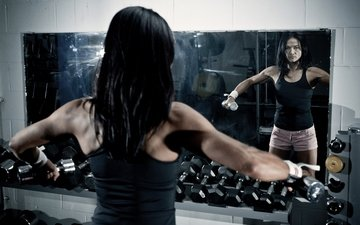 fitness, dumbbells, workout, mirror