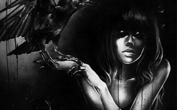 art, girl, fantasy, raven, artwork