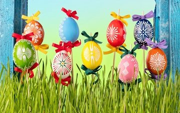 grass, spring, easter, eggs, flowers, decoration, happy