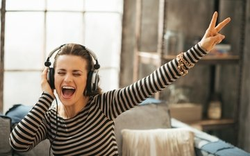 girl, mood, music, joy, headphones, singing