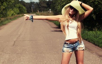 road, girl, look, model, hat, hitchhiking