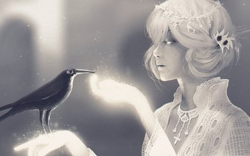 decoration, girl, bird, raven, mr raven and miss death, neil gaiman