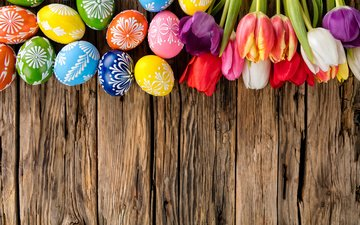tulips, easter, eggs, holiday, wood, flowers, spring, happy, colorful