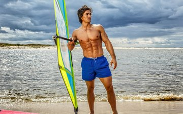 shore, sea, male, men, surfing, torso, shorts, surfer, handsome, coast