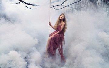 девушка, туман, качели
