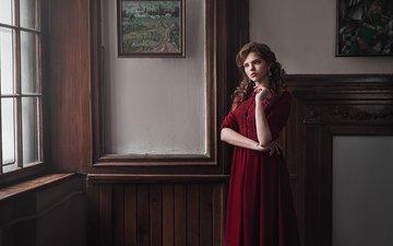 девушка, интерьер, платье, портрет, красавица, модель, картины, милая, краcный, шатенка, красива, прелесть, естественная, легкие, valeri, валерия кирпилева, макс кузин