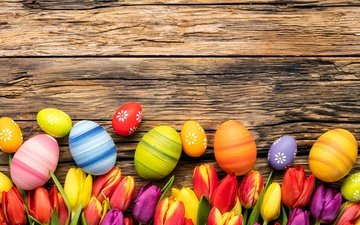 flowers, spring, tulips, easter, eggs, wood, decoration, happy, colorful