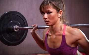 девушка, техника, концентрация, тяжелая атлетика