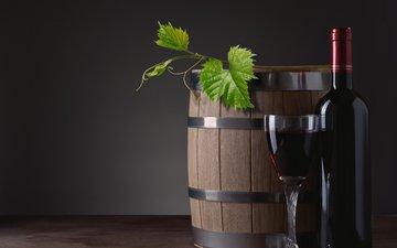 бокал, вино, бутылка, лоза, бочка, красное