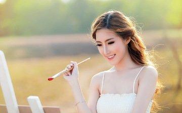 девушка, лето, азиатка