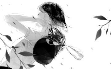 арт, листья, девушка, ветер, рюкзак, sawasawa