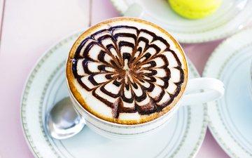 рисунок, узор, кофе, напитки, десерт, капучино, кубок, каппучино