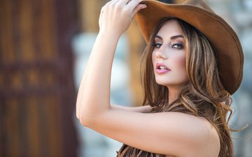девушка, взгляд, модель, волосы, шляпа, шатенка, cowgirl, плейбой, gевочка, playboyplus, lauren love, модел