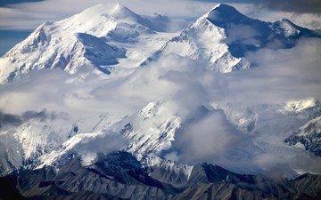 горы, гора, аляска, национальный парк денали, гора мак-кинли, мак-кинли