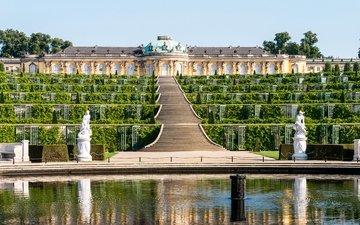 зелень, лестница, дизайн, кусты, фонтан, дворец, скульптуры, германия, ступени, sanssouci palace, потсдам