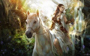 art, horse, girl, look, fantasy, bird, elf, rider, animal. nature