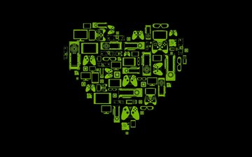 background, black, heart, hi-tech, devices, green, the device