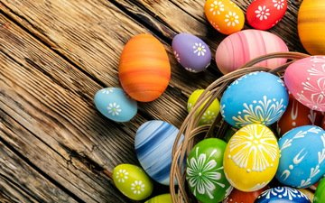 spring, easter, eggs, holiday, wood, happy, colorful