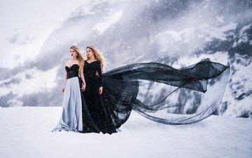 снег, лёд, красавица, белая, модели, блака, анна, моделей, в платье, venkara