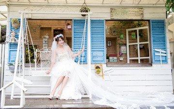 девушка, платье, качели, невеста