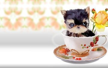 art, flower, rose, mug, baby, dog, children's, lorri kajenna