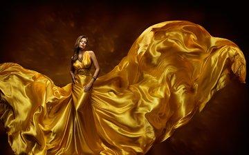 украшения, фон, платье, модель, прическа, фигура, красотка, золотое, шатенка, длинное, шикарное