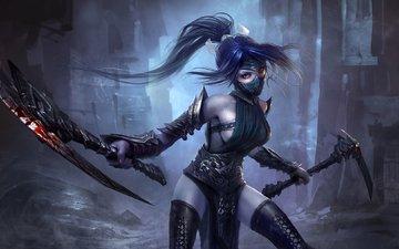 art, girl, braid, akali, league of legends, fist of shadow
