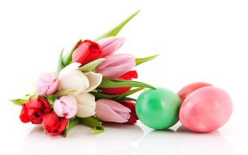 red, spring, tulips, white, easter, bouquets