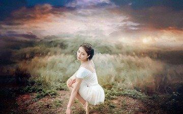 девушка, поза, азиатка, балерина, пуанты
