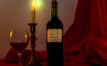огонь, бокал, вино, свеча, бутылка, красное