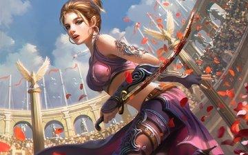 art, girl, fantasy, warrior, arena, saber